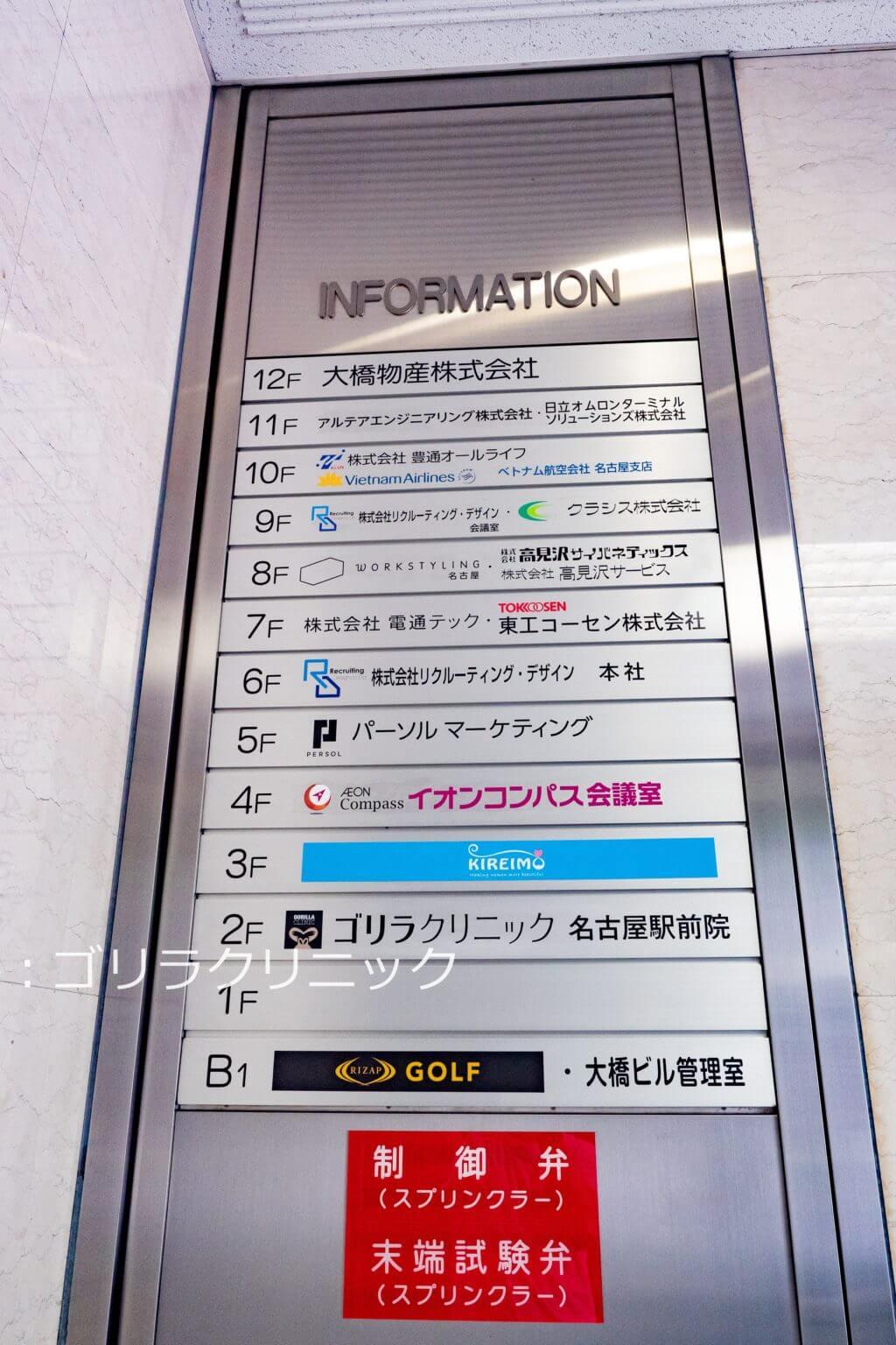 ゴリラクリニック名古屋駅前院のビル入口の看板